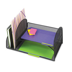 Safco Desk Organizer, Two Vertical/Two Horizontal Sections, 17 x 10 3/4 x 7 3/4, Black