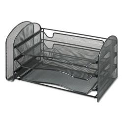 Safco Mesh Desk Organizer, 1 Vertical/3 Horizontal Sections, 16 1/4 x 9 x 8, Black