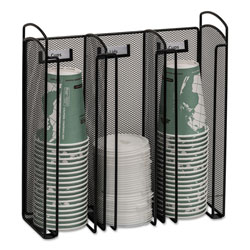 Safco Onyx Breakroom Organizers, 3Compartments, 12.75x4.5x13.25, Steel Mesh, Black