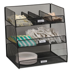 Safco Onyx Breakroom Organizers, 3 Compartments,14.625x11.75x15, Steel Mesh, Black