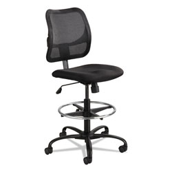 Safco Vue Series Mesh Extended-Height Chair, 33 in Seat Height, Supports up to 250 lbs., Black Seat/Black Back, Black Base