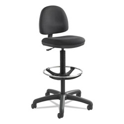 Safco Precision Extended-Height Swivel Stool with Adjustable Footring, 33 in Seat Height, Up to 250 lbs., Black Seat/Back, Black Base