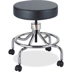 "Safco Screw Lift Stool with Low Base, Height Adjustable 17"" to 25"", Chrome/Black"