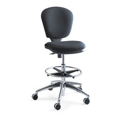 Safco Metro Collection Extended-Height Chair, Supports up to 250 lbs., Black Seat/Black Back, Chrome Base