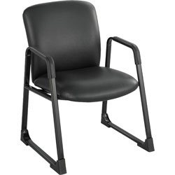 "Safco Guest Chair, 27-1/4"" x 29-1/2"" x 35-3/4"", Black Vinyl"