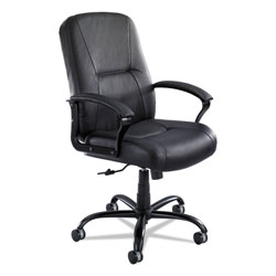 Safco Serenity Big and Tall High Back Leather Chair, Supports up to 500 lbs., Black Seat/Black Back, Black Base