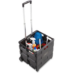 Safco 1.2 Cu. Ft. Capacity Stow Away® Crate, 16 1/2w x 3 1/2d x 18h, Black