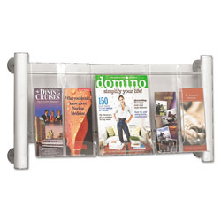 Safco Luxe Magazine Rack, 3 Compartments, 31.75w x 5d x 15.25h, Clear/Silver