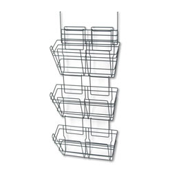 Safco Panelmate Triple-File Basket Organizer, 15 1/2 x 29 1/2, Charcoal Gray