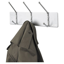 Safco Metal Wall Rack, Three Ball-Tipped Double-Hooks, 18w x 3.75d x 7h, Satin Metal