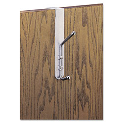 Safco Over-The-Door Double Coat Hook, Chrome-Plated Steel, Satin Aluminum Base