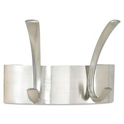 Safco Metal Coat Rack, Steel, Wall Rack, Two Hooks, 7w x 4.5d x 5.25h, Brushed Nickel