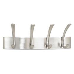Safco Metal Coat Rack, Steel, Wall Rack, Four Hooks, 14.25w x 4.5d x 5.25h, Brushed Nickel