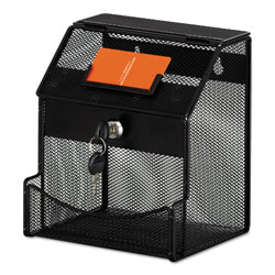 Safco Onyx Mesh Collection Box, 7 1/4 x 8 1/2 x 6, Steel, Black