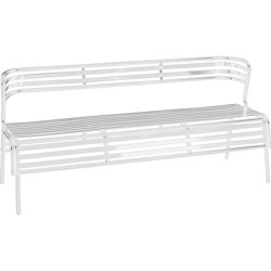 Safco Bench with Back, Indoors/Outdoors, 60 in W x 25 in D x 30 in H, White