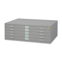 Safco Five Drawer Steel Flat File, Stackable, For Sheets to 50 x 38, Gray