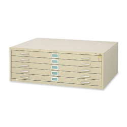 Safco Five Drawer Steel Flat File, Stackable, For Sheets to 50 x 38, Tropic Sand