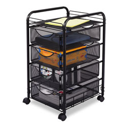 Safco Onyx Mesh Mobile File With Four Supply Drawers, 15.75w x 17d x 27h, Black