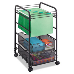 Safco Onyx Mesh Open Mobile File, Two-Drawers, 15.75w x 17d x 27h, Black