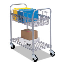 Safco Wire Mail Cart, 600-lb Capacity, 18.75w x 26.75d x 38.5h, Metallic Gray