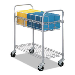 Safco Wire Mail Cart, 600-lb Capacity, 18.75w x 39d x 38.5h, Metallic Gray