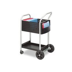 Safco Scoot Mail Cart, One-Shelf, 22w x 27d x 40.5h, Black/Silver