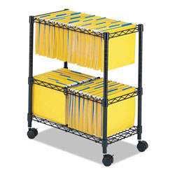 Safco Two-Tier Rolling File Cart, 25.75w x 14d x 29.75h, Black