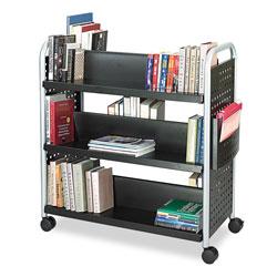 Safco Scoot Book Cart, Six-Shelf, 41.25w x 17.75d x 41.25h, Black