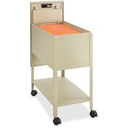 Safco Standard File Cart with Locking Door, Beige