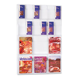 Safco Reveal Clear Literature Displays, 18 Compartments, 30w x 2d x 45h, Clear