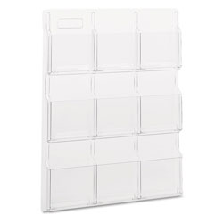 Safco Reveal Clear Literature Displays, 9 Compartments, 30w x 2d x 36.75h, Clear