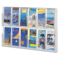 Safco Reveal Clear Literature Displays, 12 Compartments, 30w x 2d x 20.25h, Clear