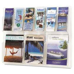 Safco Reveal Clear Literature Displays, 9 Compartments, 30w x 2d x 22.5h, Clear