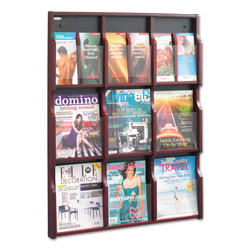 Safco Expose Adjustable Magazine/Pamphlet 9 Pocket Display, 29.75w x 2.5d x 38.25h, Mahogany