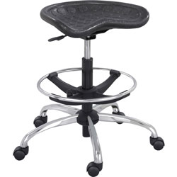 """Safco Sit Star Stool with Footring & Caster, 27"""" to 36"""" Seat Height, Black/Chrome"""