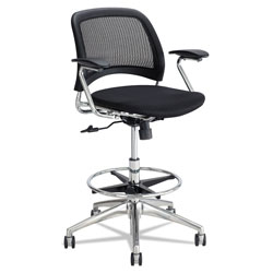 Safco Reve Mesh Extended-Height Chair, Supports up to 250 lbs., Black Seat/Black Back, Chrome Base