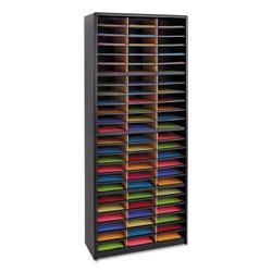 Safco Steel/Fiberboard Literature Sorter, 72 Sections, 32 1/4 x 13 1/2 x 75, Black