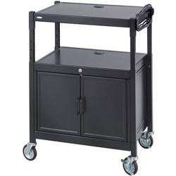 Safco Av Cart w/Cabinet, Adjustable, 24 in x 18 in x 42 in, Steel/Black