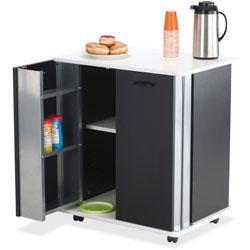 "Safco Refreshment Stand, 29 1/2""x22 3/4""x33 1/8"", Black"