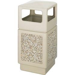 Safco Square Side-Open Plastic Outdoor Trash Can, 38 Gallon, Beige