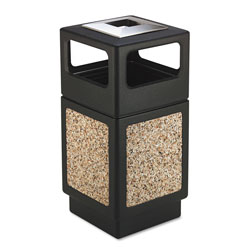 Safco Canmeleon Ash/Trash Receptacle, Square, Aggregate/Polyethylene, 38gal, Black