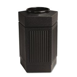 Safco Canmeleon™ Pentagon Plastic Outdoor Trash Can, 30 Gallon, Black