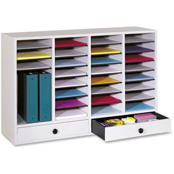 Safco Wood Literature Organizer, 32 Adjustable Compartments/2 Drawers, Gray