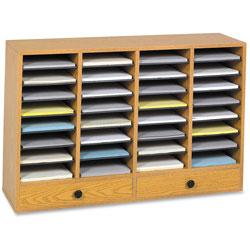 Safco Wood Literature Organizer, 32 Adjustable Compartments/2 Drawers, Medium Oak