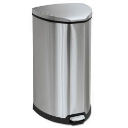 Safco Step-On Waste Receptacle, Triangular, Stainless Steel, 10 gal, Chrome/Black