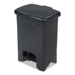 Safco Step-On Receptacle, Rectangular, Plastic, 4 gal, Black