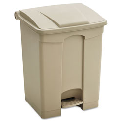 Safco Large Capacity Plastic Step-On Receptacle, 23 gal, Tan