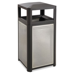 Safco Evos Series Steel Waste Container, 38 gal, Black