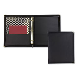 Samsill Classic Collection Zipper Ring Binder, 3 Rings, 1.5 in Capacity, 11 x 8.5, Black