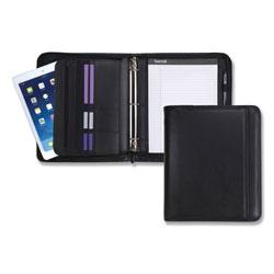 Samsill Professional Zippered Pad Holder/Ring Binder, Pockets, Writing Pad, Vinyl Black